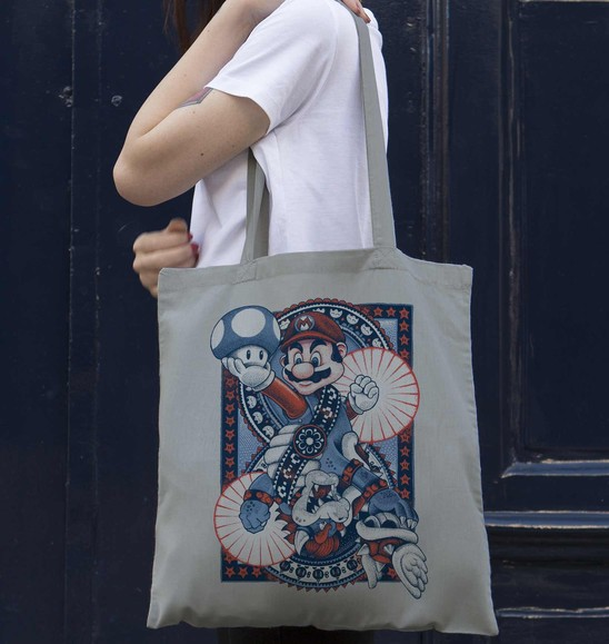 Tote Bag Mario vs Bowser de couleur Gris