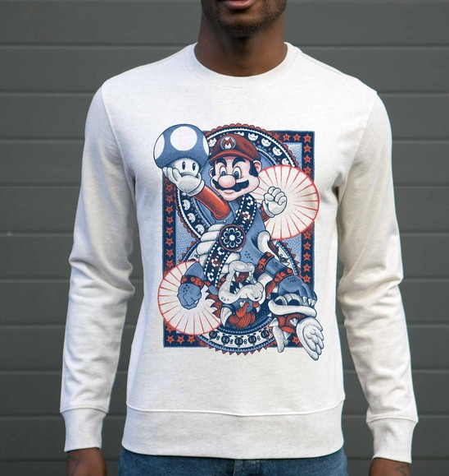 Sweatshirt pour Homme Mario vs Bowser de couleur Gris chiné